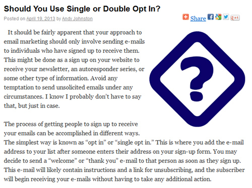 Sample from the Single or Double Opt-in Post